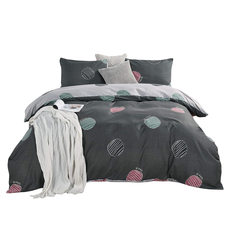 ENJOHOS Grey Spot Duvet Cover Set Soft Comfortable Microfiber Bedding Set Lightweight Comforter Cover Set 2 Pieces 1 Duvet Cover 1 Pillowcase