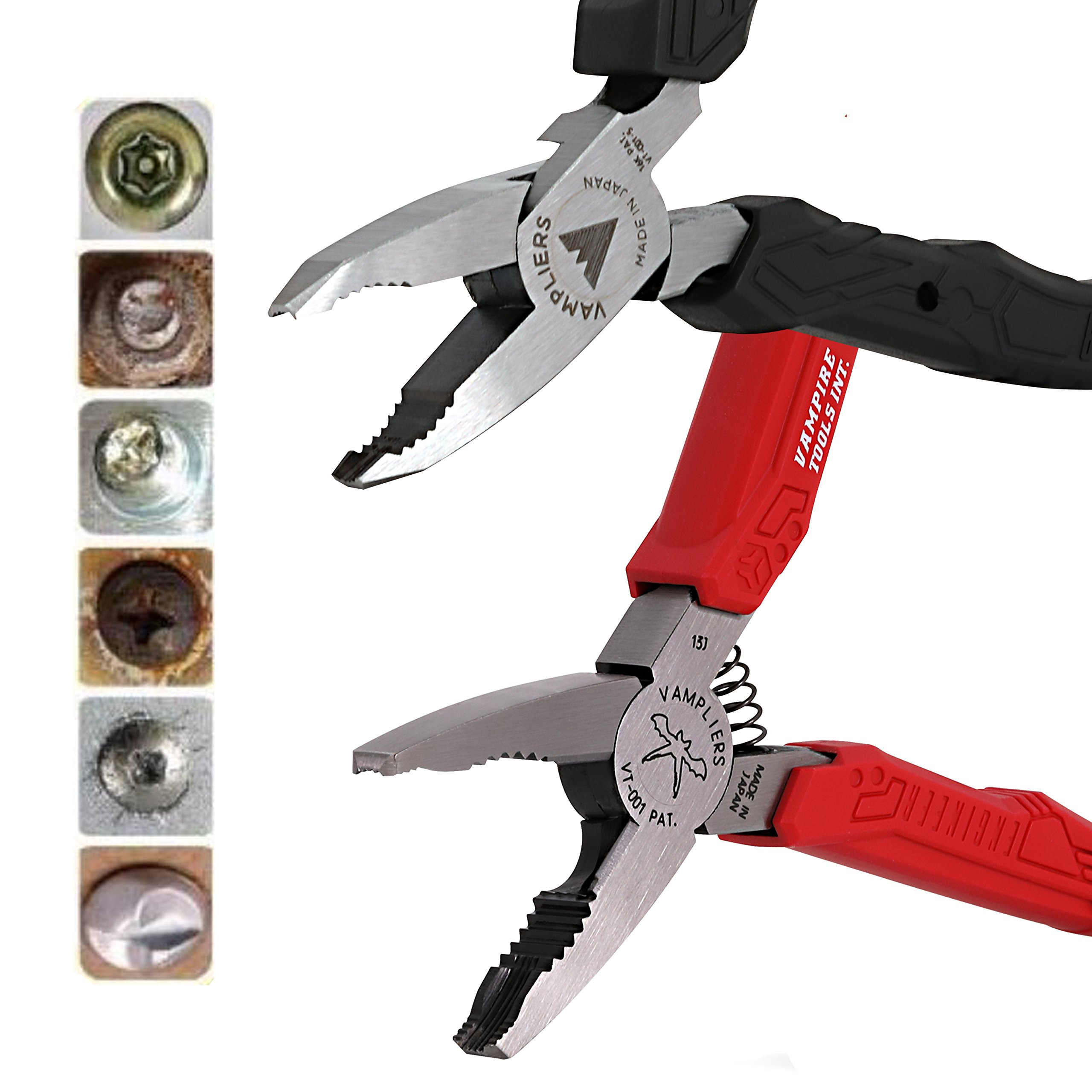VamPLIERS 2-pc Set S2A 5'' Mini and 6.25'' Specialty Pliers Extract Stripped Stuck Screws Rounded Nuts Bolts by Vampliers