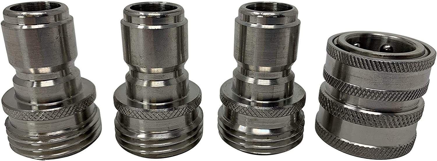 MTM Hydro Garden Hose Quick Connect Hose Connector Kit 3/4 Inch Solid Stainless Steel Fittings Set of 1 Female and 3 Male Garden Hose Connectors - Great for Pressure Washers and Home Use