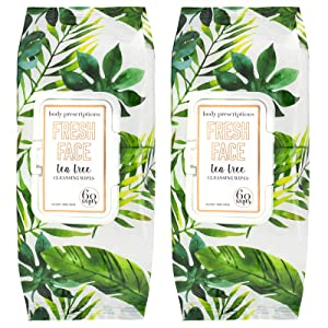 Body Prescriptions Makeup Remover Wipes Bulk Pack of 2, 100 Facial Cleaning Cloths Removes Makeup Mascara Dirt and Oil, Flip Top Pack (Fresh Face Tea Tree)