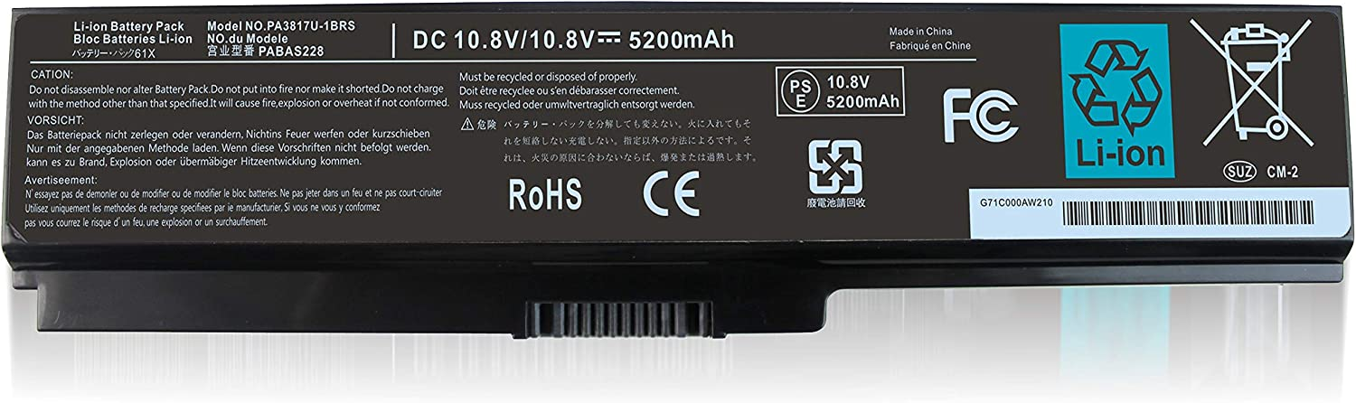 Shareway 5200mAh Replacement Laptop Battery for Toshiba Satellite A660 A665 C660 C655 L650 L655 L750 L750P M640 M645 P745 P755 P755-S5375 PABAS228 PABAS229 PA3817U PA3818U PA3819U