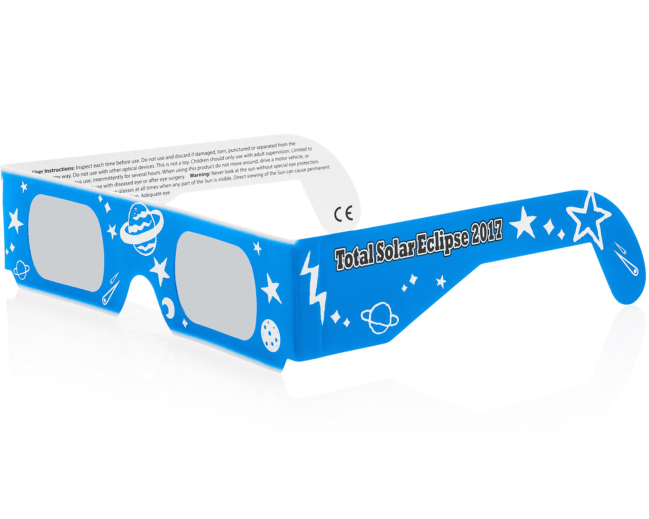 Solar Eclipse Glasses CE and ISO Certified - Safe Solar Viewing - Viewer and Filter - Made in USA - NEON (3 Pack) by Solar Eclipse Spectacles (Image #4)