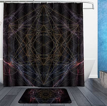 SWEET TANG Magic Smoking Sacred Geometry Shower Curtain Liner With Hooks And Non Slip Bath Rug