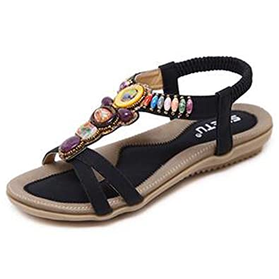 Damenschuhe Böhmen Sandalen Wohnungen Strand Schuhe Freizeit Sandalen Flip Flop Sommerschuhe Aprikose 40 EU M7pQtGjNq