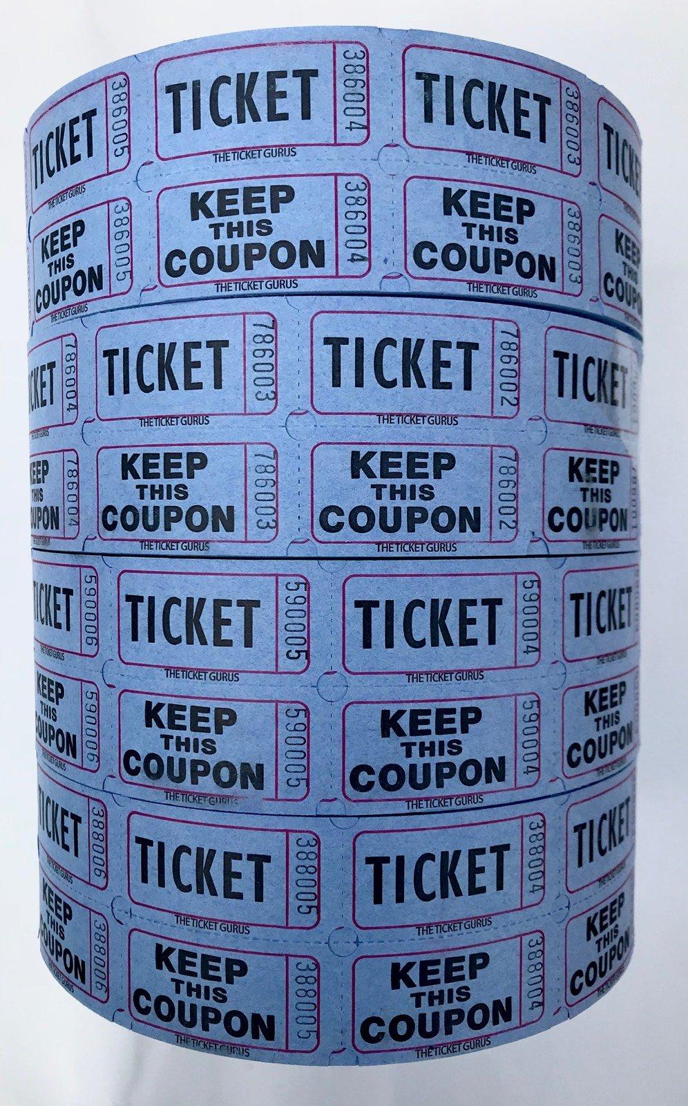 The Ticket Gurus-Raffle Tickets - (4 Rolls of 2000 Double Tickets) 8,000 Total 50/50 Raffle Tickets (4) Blue Rolls by The Ticket Gurus