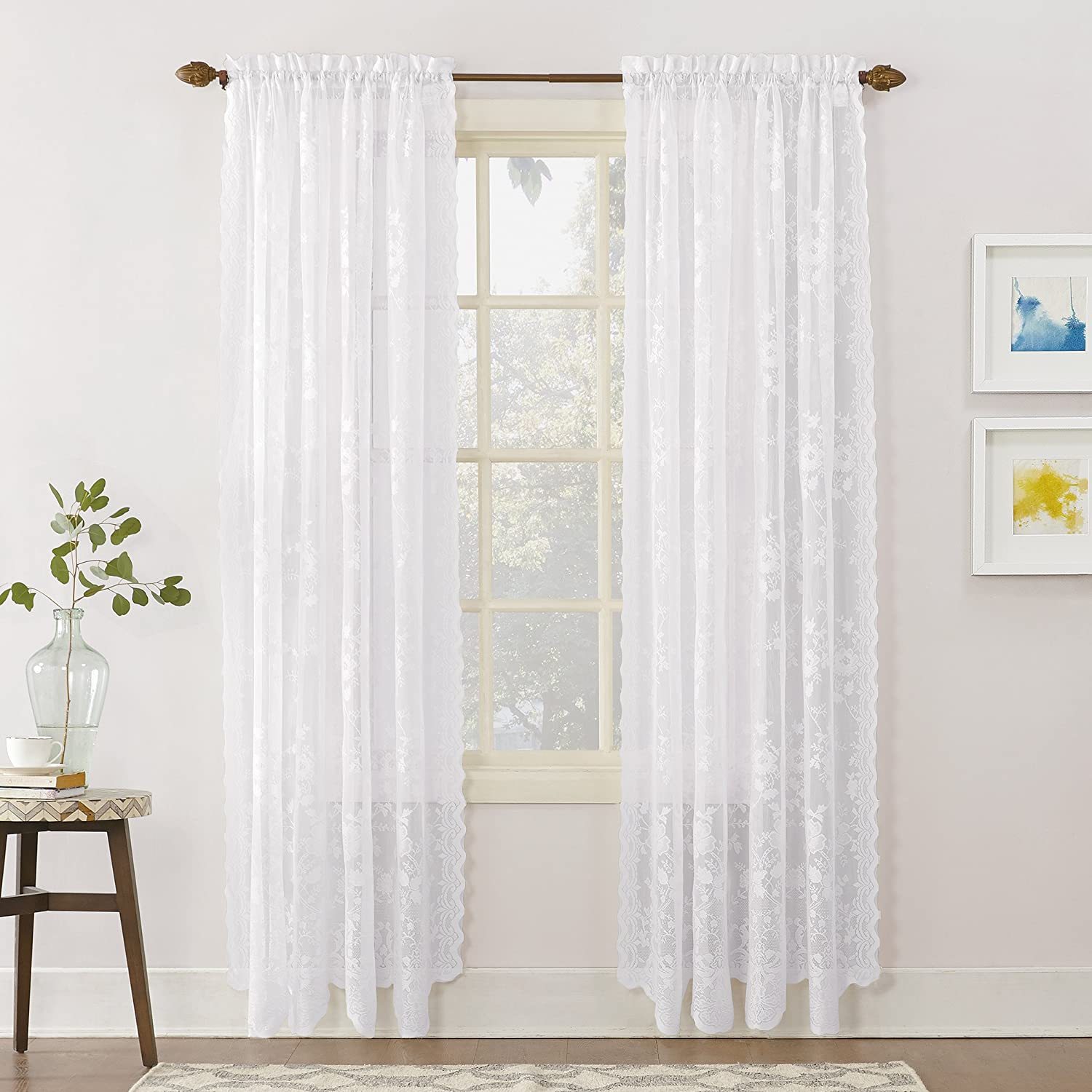 """No. 918 Alison Floral Lace Sheer Rod Pocket Curtain Panel, 58"""" x 84"""", White"""