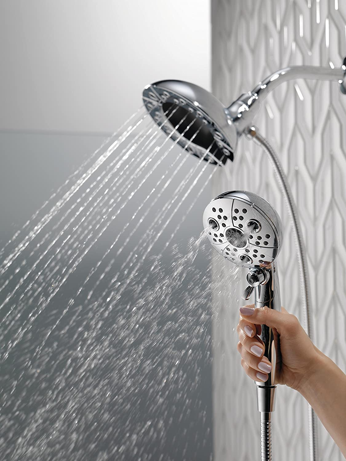 Delta Faucet 5-Spray H2Okinetic In2ition 2-in-1 Dual Hand Held Shower Head with Hose and Magnetic Docking, Chrome 58480-PK - -