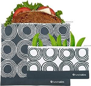 Lunchskins Reusable 2 Piece Zippered Food Storage Bag Set, 1 Sandwich Bag + 1 Snack Bag, Charcoal Circles