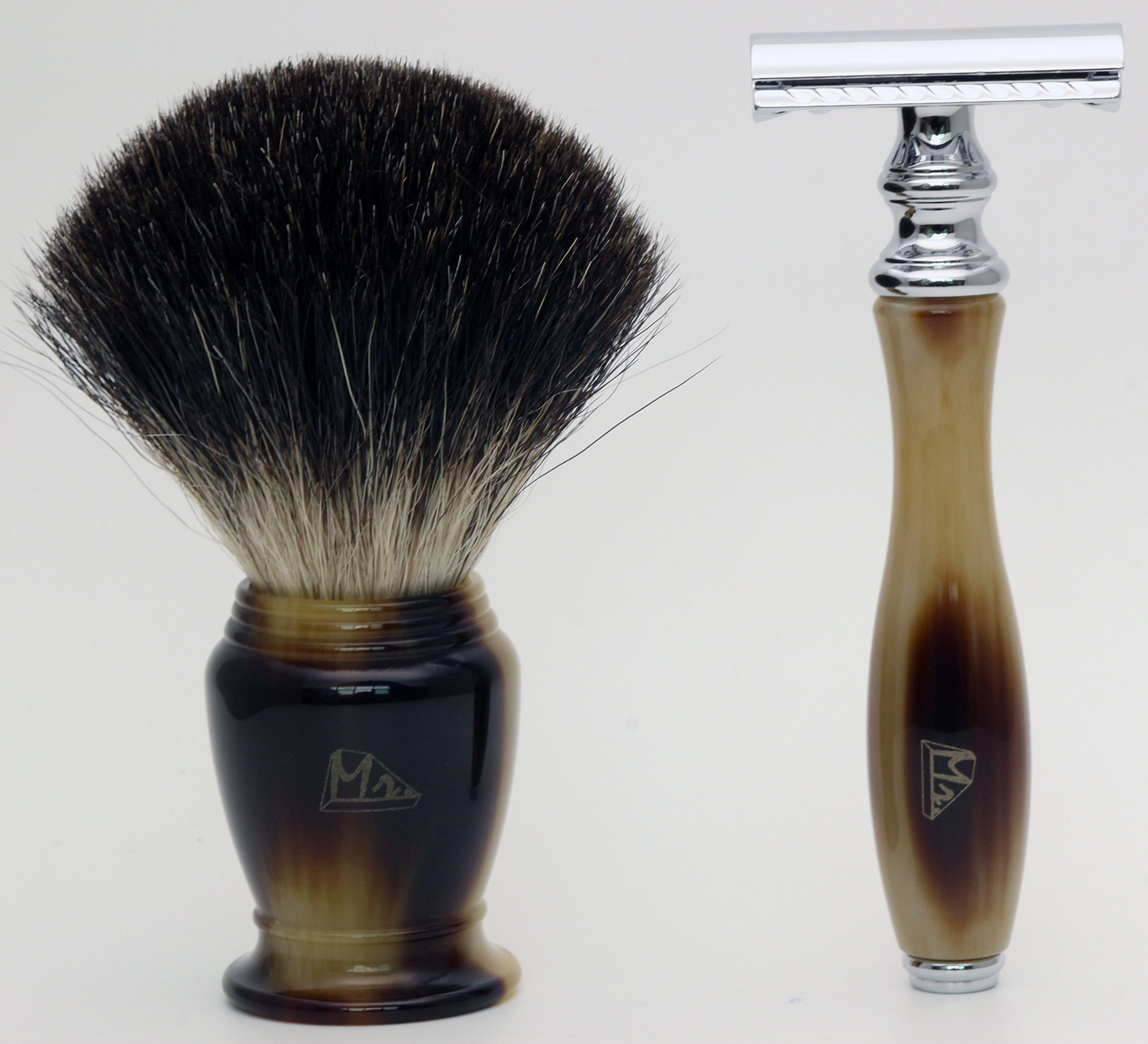 Mr 4 IN 1 Shaving Set with Safety Razor,Bowl,Stand,Hand Crafted 100% Pure Badger Shaving brush.Great Christmas Gift Idea for Your man, father,husband,boyfriend,brother,boss (faux horn)