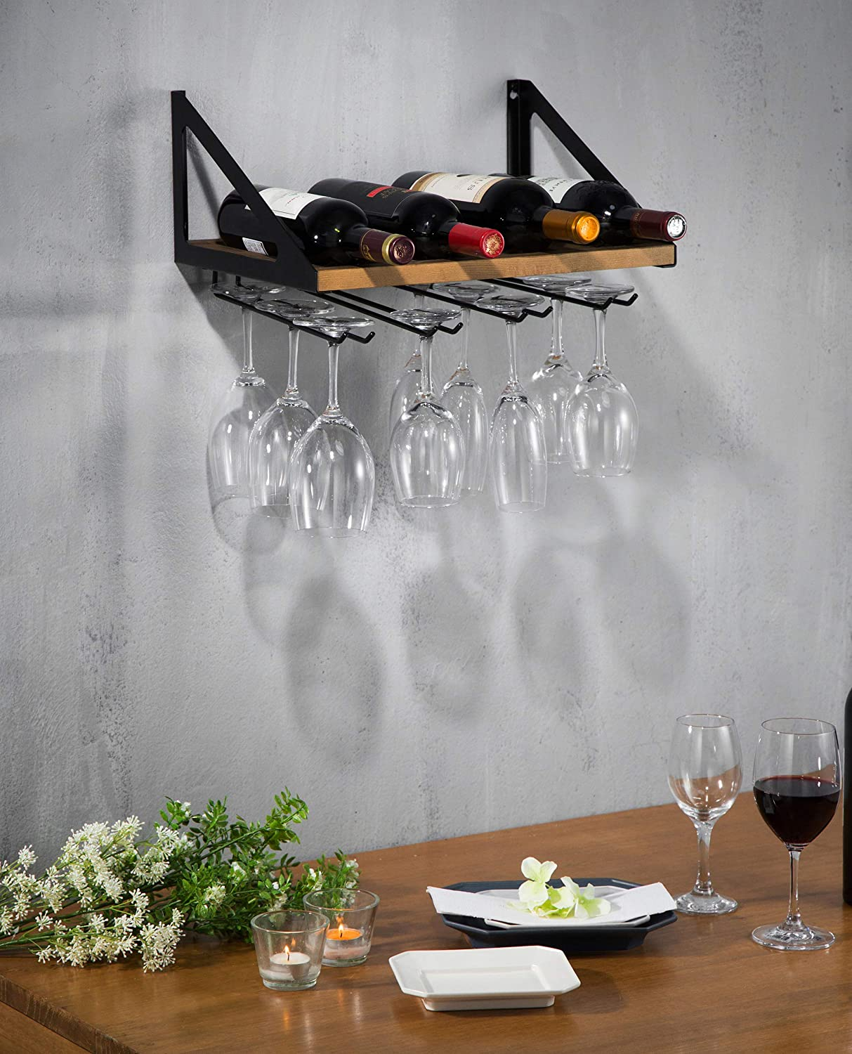 Wood MK478A JackCubeDesign Wall Mount Wine Rack with Glass Holder