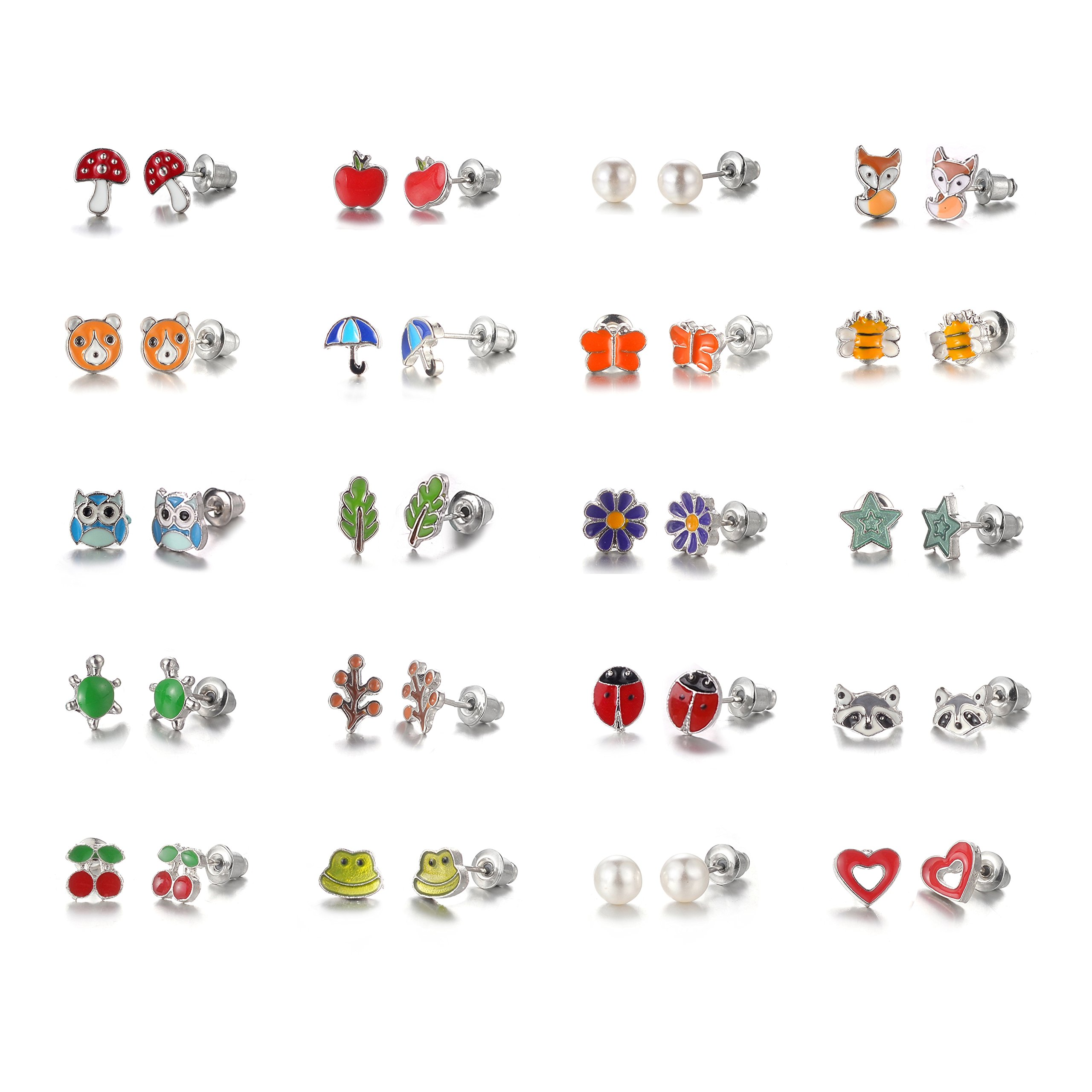 Aganippe 20 Pair Sets Cute Animals Hypoallergenic Nickel-free Stud Earrings Set For Kids Girl (Style-7)
