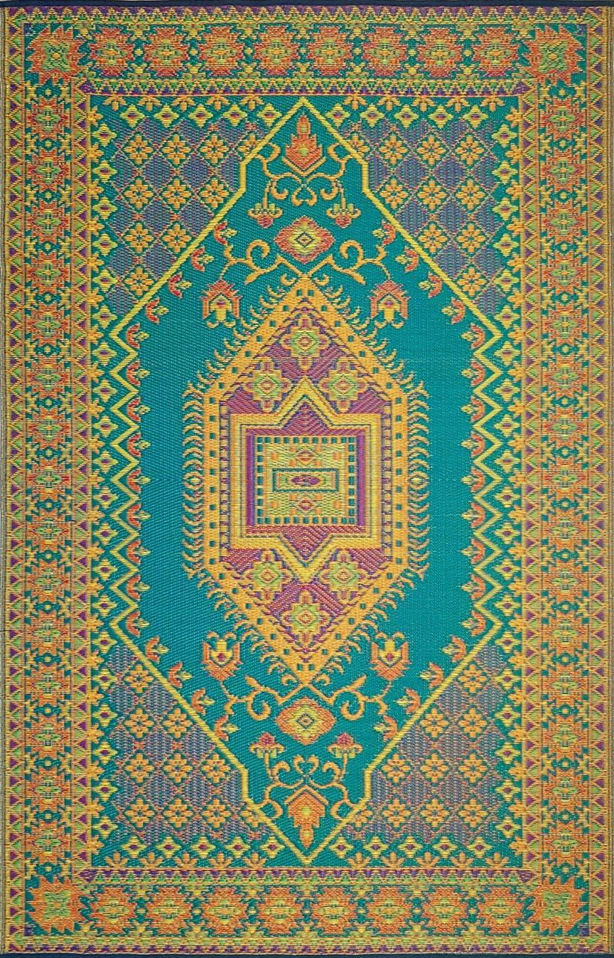 Mad Mats Oriental Turkish Indoor Outdoor Floor Mat 6 x 9 , Aqua