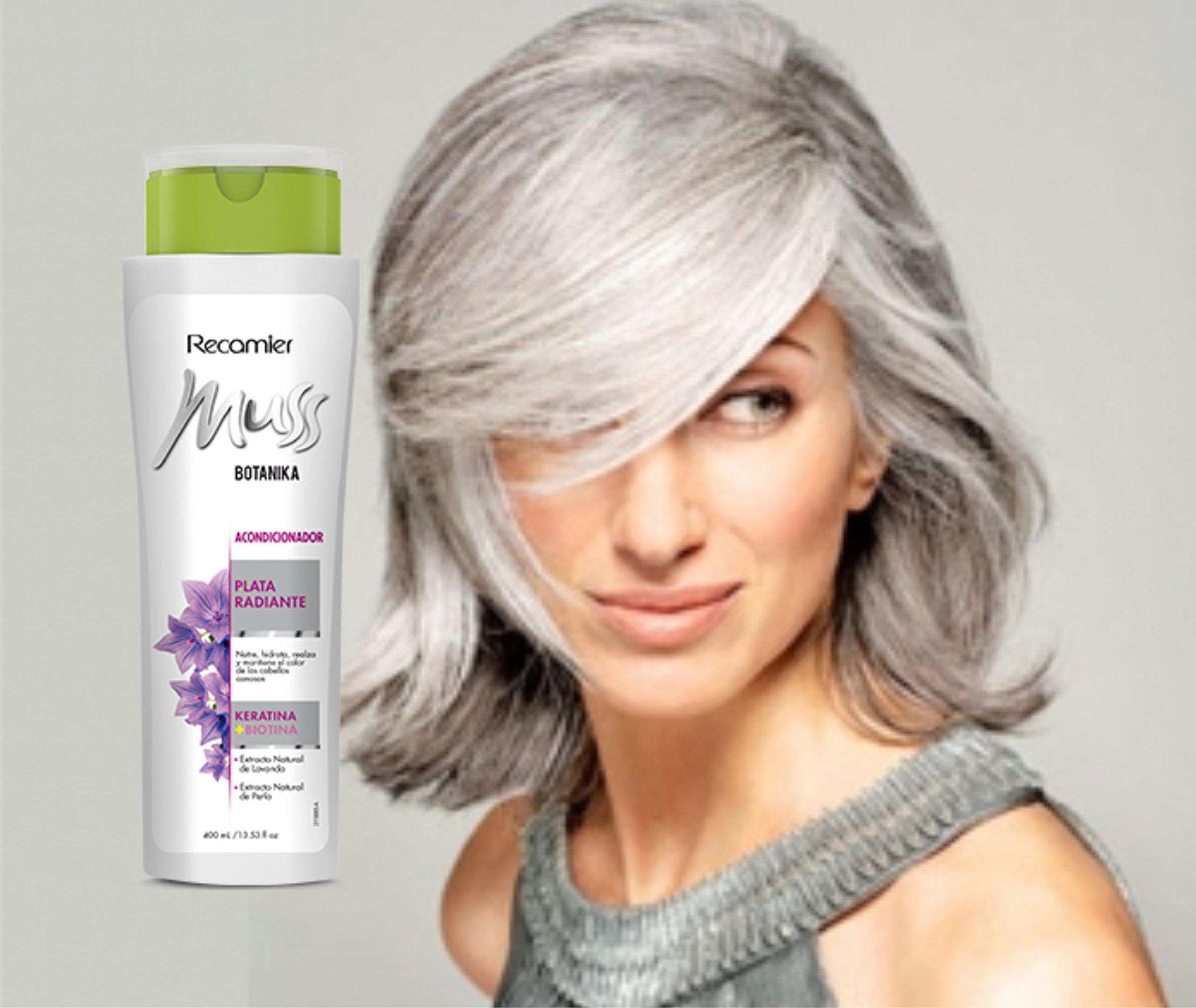 Amazon.com : MUSS BOTANIKA PLATA RADIANTE ACONDICIONADOR, Acentua el color gris de las canas / silver color care shampoo unisex daily use.