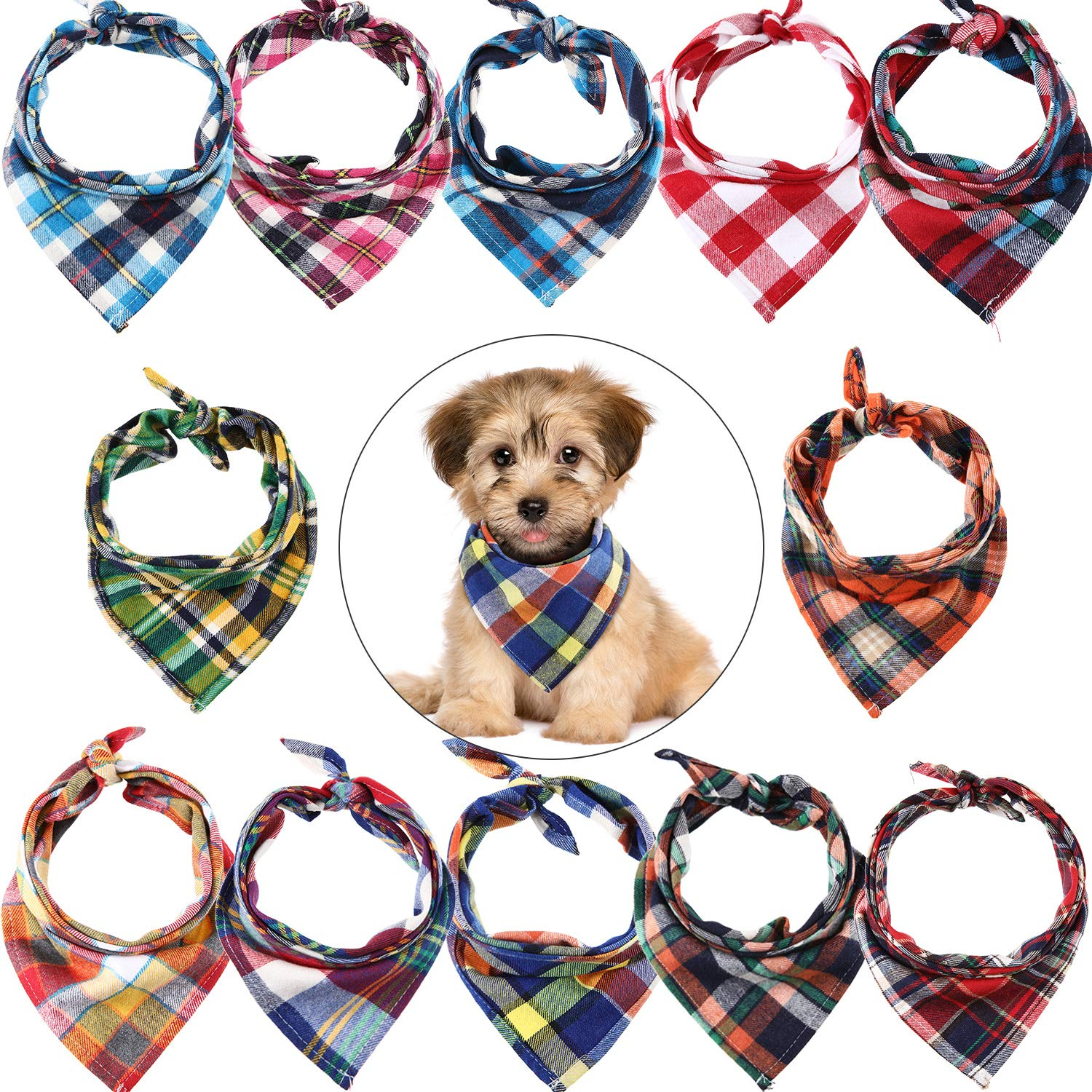 12 Pieces Dog Bandanas - Triangle Dog Scarf, Washable Reversible Plaid Printing, Bibs Dog Kerchief Set, Suitable for Small or Medium-Sized Cat and Dog Pets by Syhood
