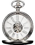 KS KPFH004–Reloj de bolsillo para hombre, estilo vintage, de aleación plateada, con mecanismo mecánico visible, de carga manual