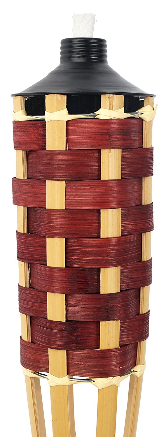 57 in High 4 Pack 20oz Metal Oil Canister Sharp Speared Bottom by Kaya Collection Capacity Bamboo Tiki Torches