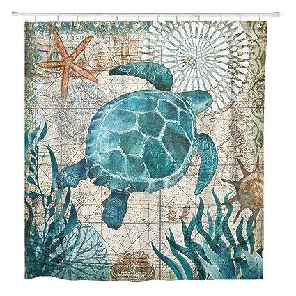 Bathroom Shower Curtain Sea Turtle Ocean Creature Landscape Shower Curtains Fabric Bathroom Curtain Durable Waterproof Bath Curtain Sets with 12 Hooks