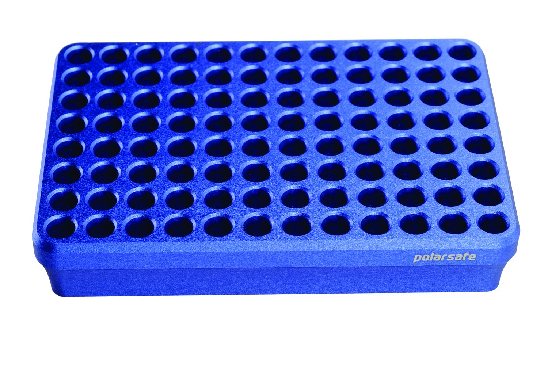 Argos Technologies CB96 Polarsafe Aluminum Cooling Block 96-Well for 0.2 mL Tubes, Strips or 96-Well Plates, Blue