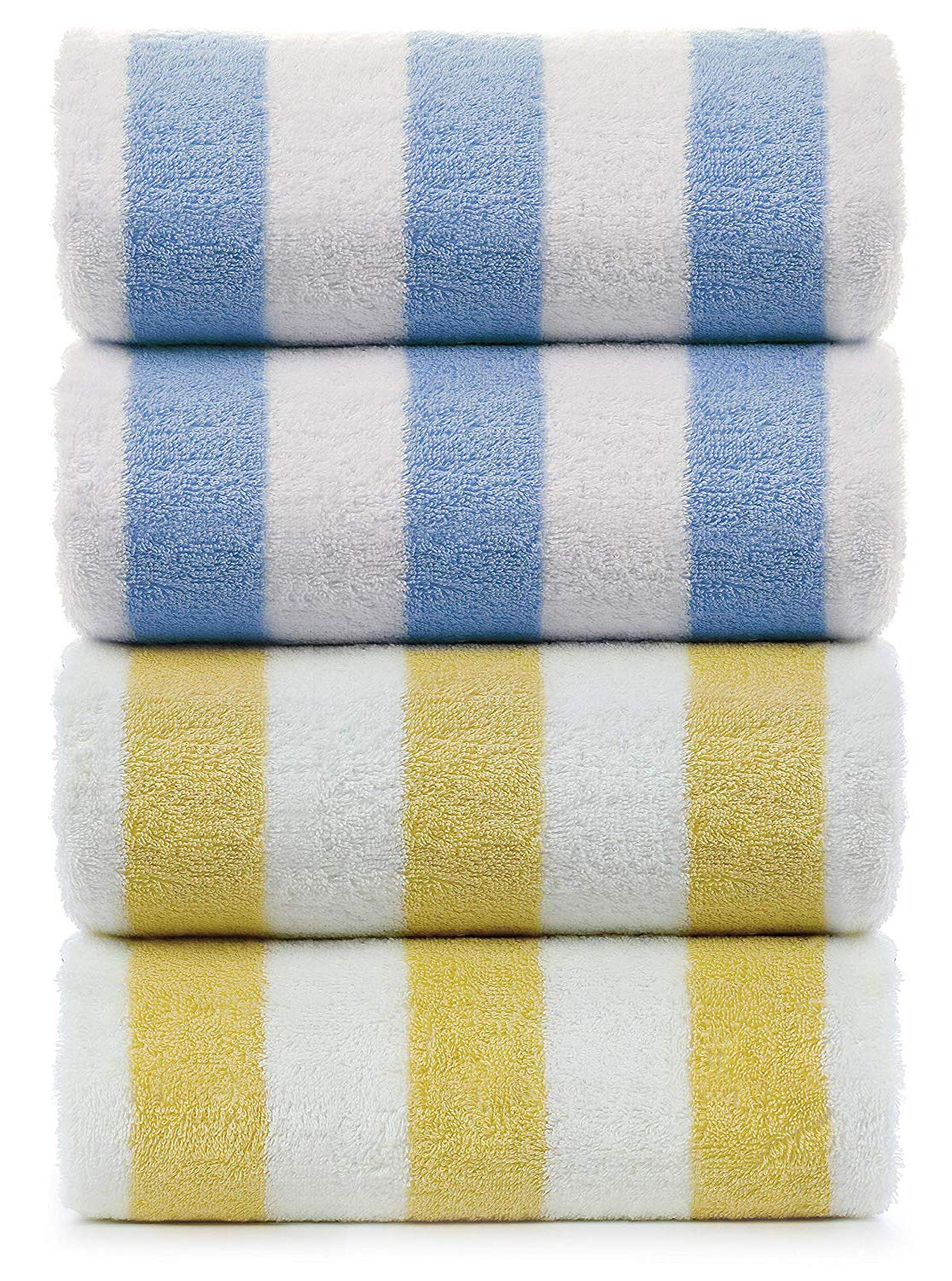 Indulge Large Beach and Pool Towel, Cabana Stripe, 100% Turkish Cotton (30x60 inches) (4, Yellow Blue)