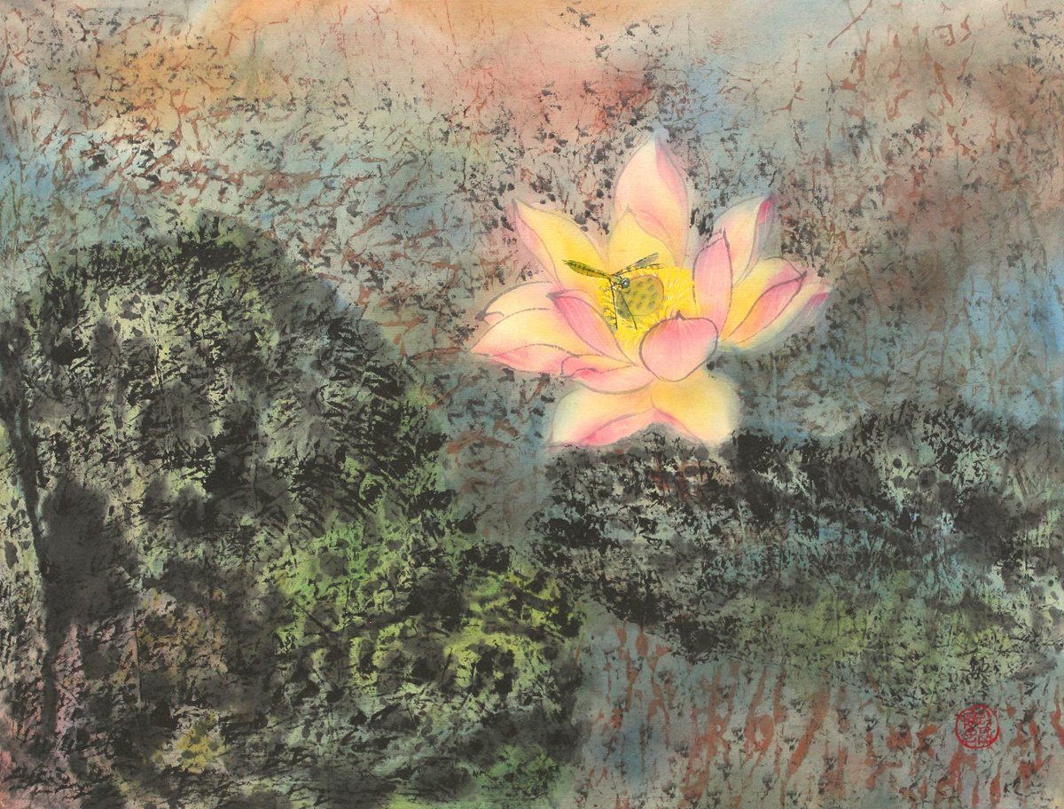 dfb0ad4d3 Amazon.com: Joan Lok Visiting the Lotus, Giclee Print of Original Sumi-e Flower  Painting, 14 X 18 Inches: Watercolor Paintings: Posters & Prints