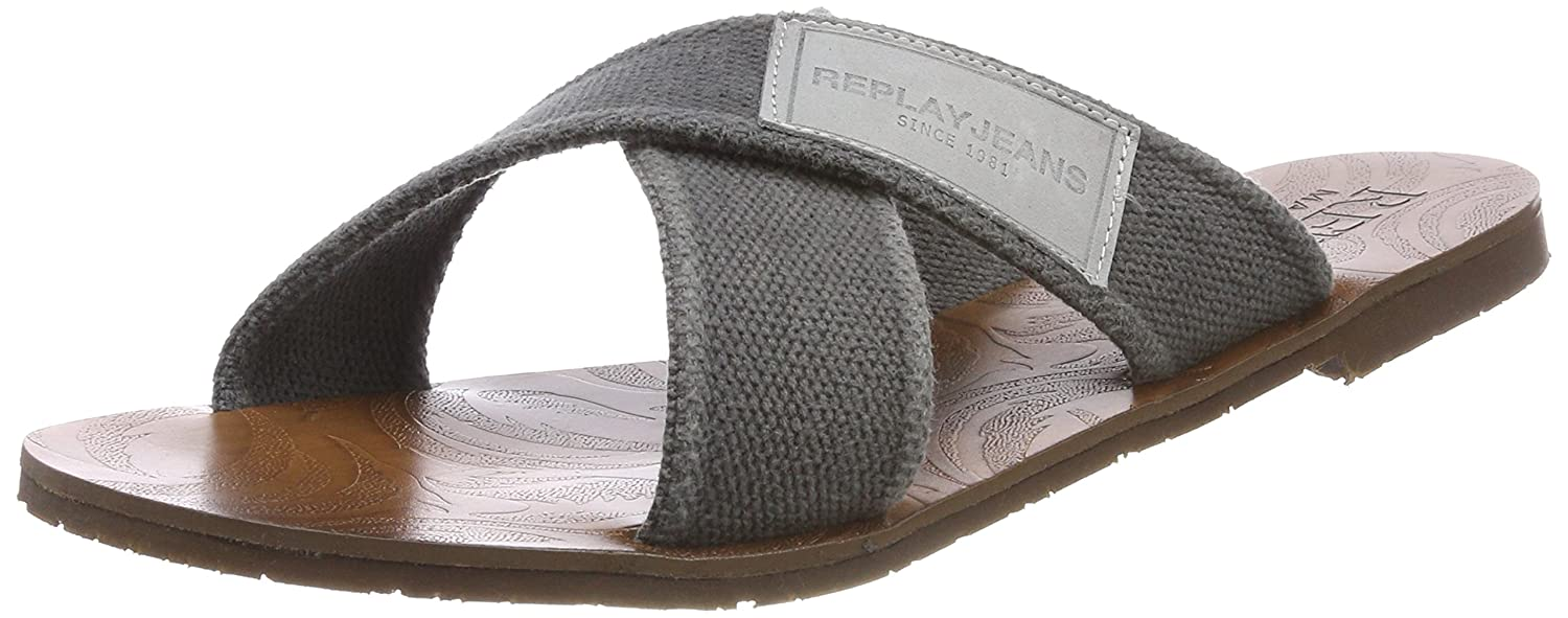Replay Mans, Chanclas para Hombre 42 EU|Gris (Grey)