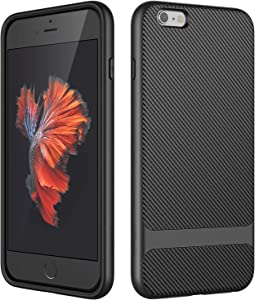 JETech Case for iPhone 6s Plus and iPhone 6 Plus, Slim Protective Cover with Shock-Absorption, Carbon Fiber Design, Black