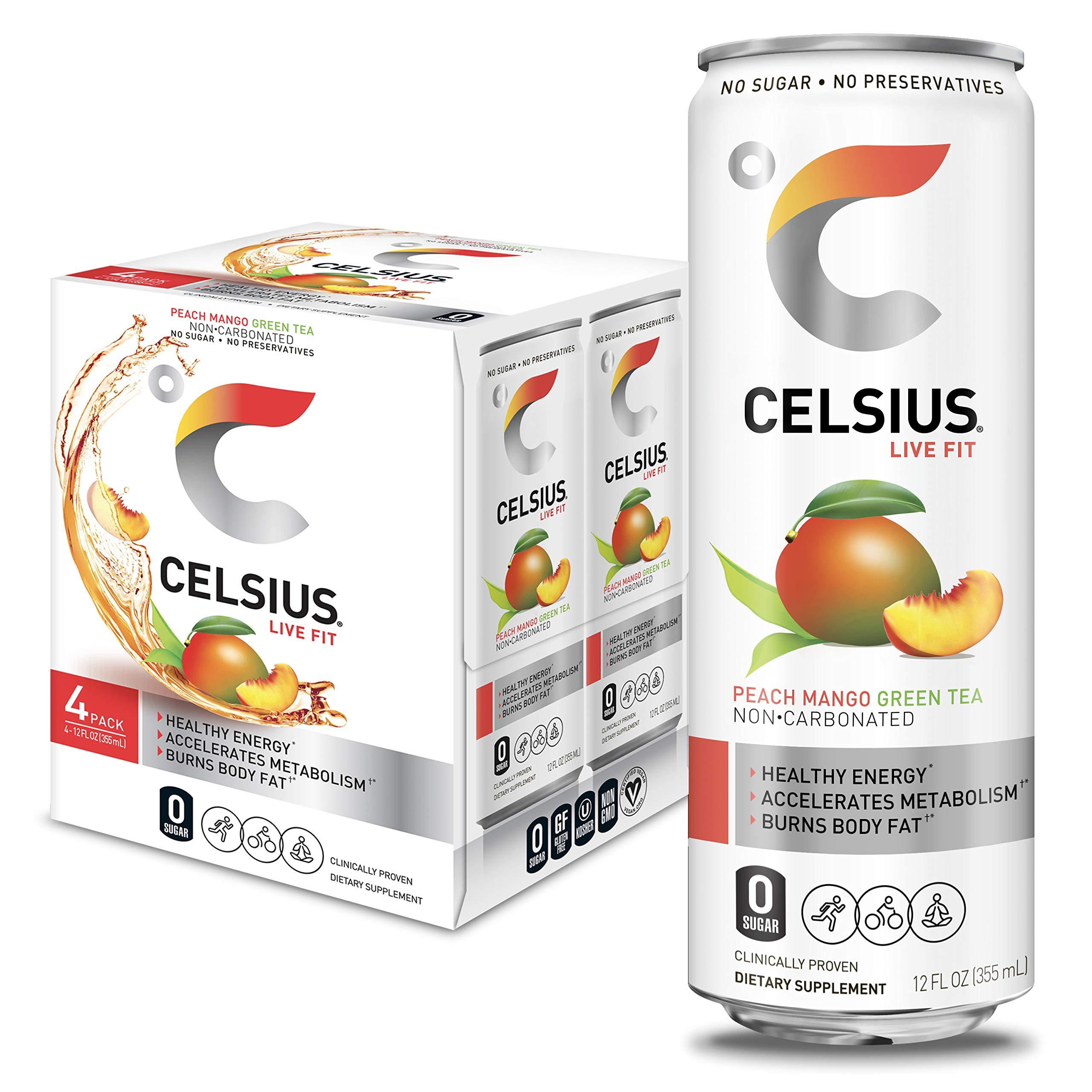 CELSIUS Peach Mango Green Tea Non-Carbonated Fitness Drink, Zero Sugar, 12oz. Slim Can (Pack of 4)