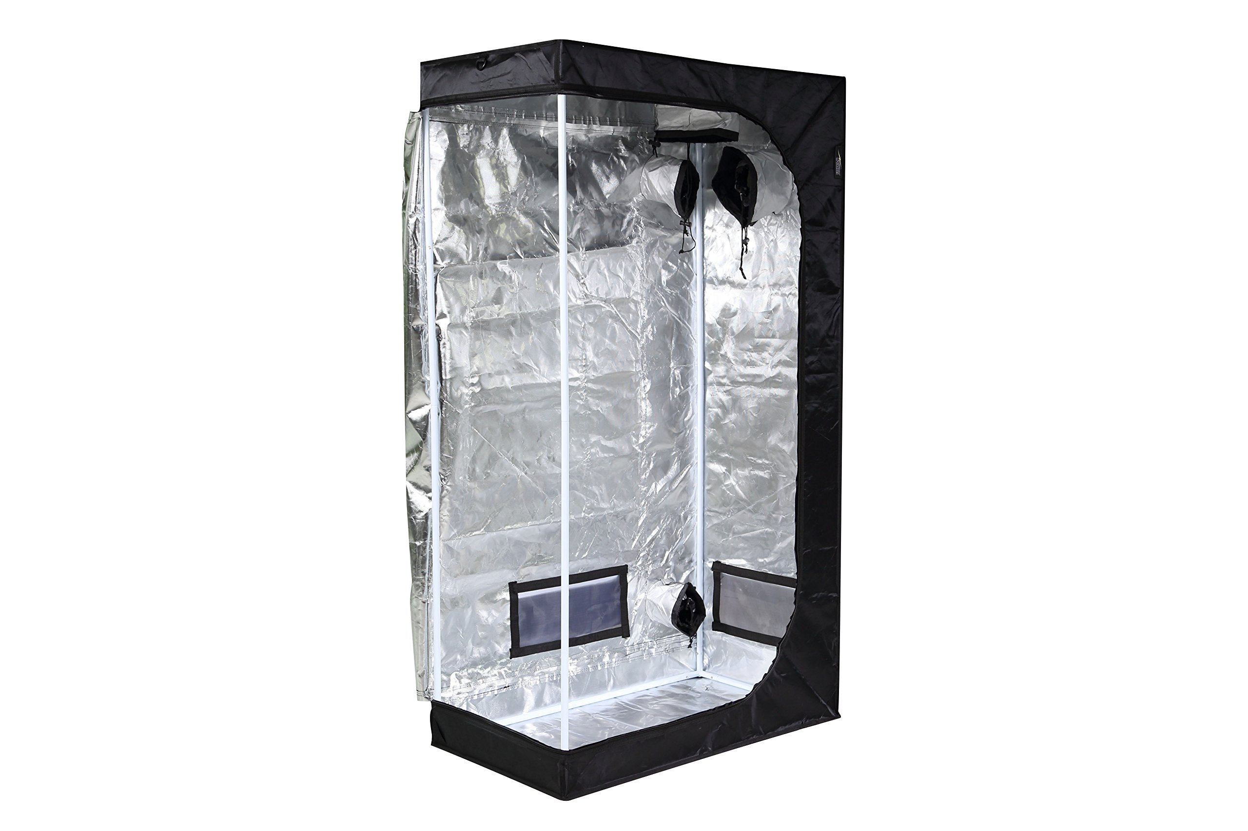 iPower 36''x20''x62'' Hydroponic Mylar Grow Tent with Observation Window, Tool Bag and Floor Tray for Grow Light and Indoor Plant Growing