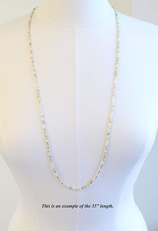 Gold and Silver Tone Seed Bead Necklace Golden Bead Necklace Single Strand