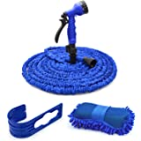 Expandable Lawn Garden Hose,CarBoss 50 Foot Car Washing Hose for Watering Plants,Auto Wash,Cleaning Patio House or Garage with 7-way Spray Nozzle,Wash Sponge Pad and Plastic Hook (Plastic Connector)