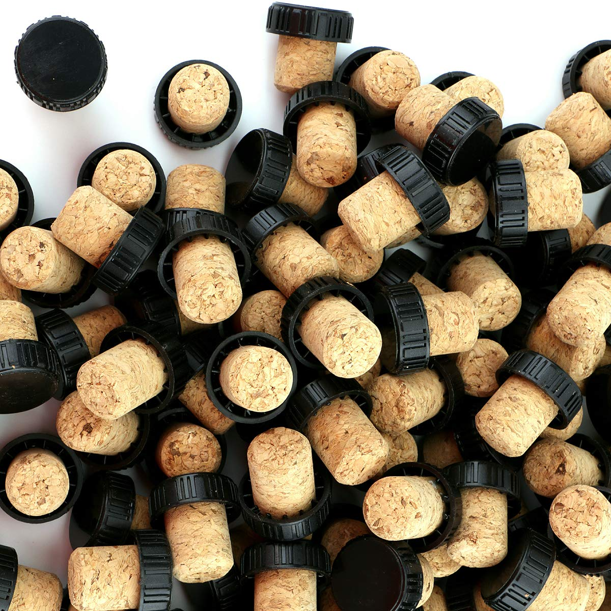 Foraineam 120 Pieces 20mm Agglomerated Tasting Cork, T-Shape Wine Corks with Black Plastic Top by Foraineam