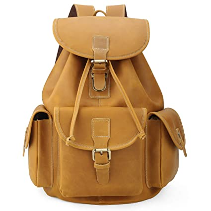 906790af3d Amazon.com  Polare Full Grain Leather Backpack Vintage College Laptop Bag   Computers   Accessories