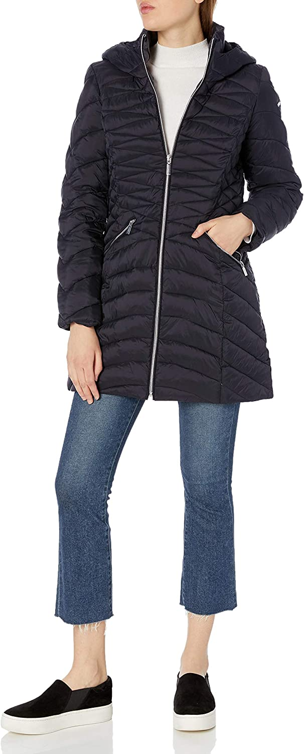 LAUNDRY BY SHELLI SEGAL Womens Lightweight Curve Quilted Puffer Jacket