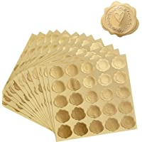 DreamBuilt 300pcs Gold Embossed Wax Seal Looking Heart Envelope Seals for Wedding Invitations / Greeting Cards / Party…