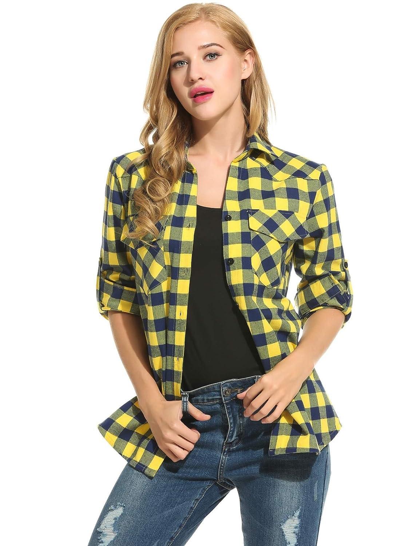 Unibelle Hemd Kariertes Damen Bluse Karohemd Langarm Baumwolle V-Ausschnitt Casual Boyfriend Blusenshirt mit Einstellbare /Ärmeln S-XXXL
