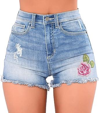 35685cdc7 GOSOPIN Women Rose High Waist Frayed Raw Hem Ripped Denim Shorts Jeans  Small Light Blue