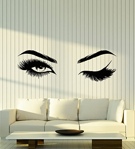 Eyes Wall Sticker vinyl art large big graphic decal pretty lashes living room