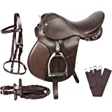 PREMIUM EVENTING BROWN LEATHER SHOW JUMPING ENGLISH HORSE SADDLE TACK SET
