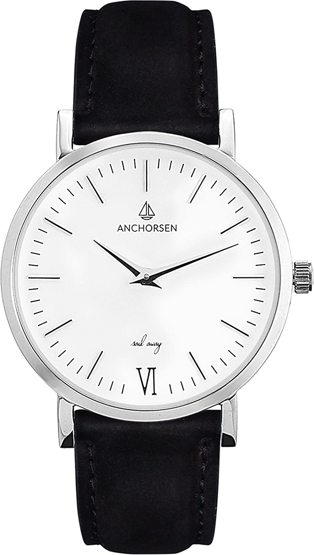 ANCHORSEN Little Journey Maritime Damen-Armbanduhr - Farbe Silber - Schweizer Uhrwerk - Weißes Ziffernblatt - Schwarzes