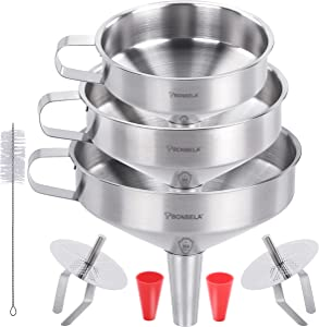 BONBELA PRIME 304 Stainless Steel Funnel – 6 in 1 - GRAVITY3D for Faster, Drip Free Transfers   Set of 3 Food Grade Funnels For Kitchen (14cm, 13cm, 11cm), 2 Strainers, 2 Silicone Tubes, 1 Brush