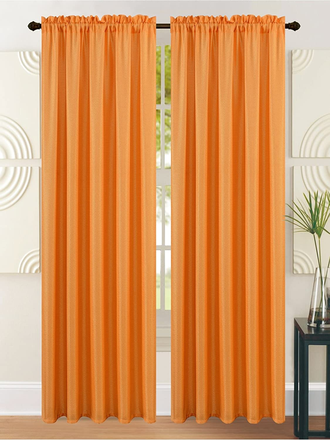 All American Collection New Heavy Solid Faux Silk 1 Panel Curtain with Available Matching Waterfall Valance