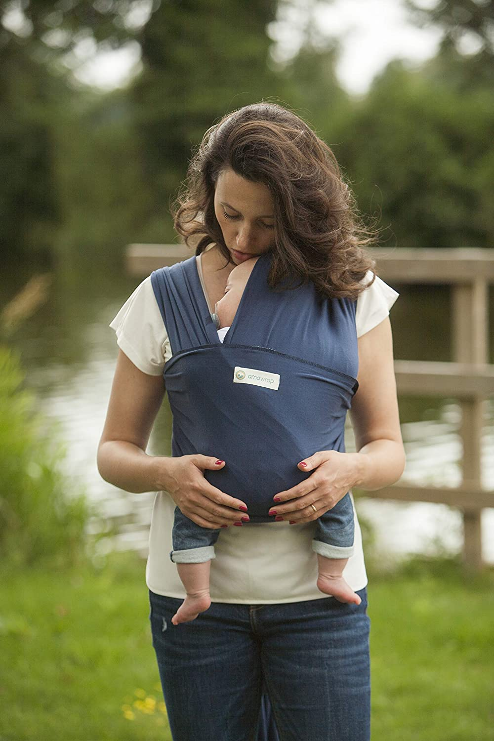 AmaWrap Stretchy Baby Wrap Sling//Carrier Blue