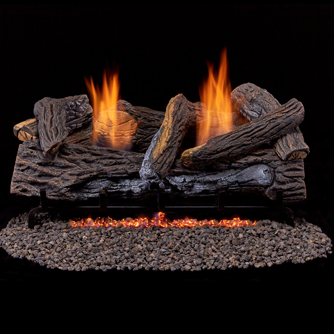 Duluth Forge Ventless Natural Set-24 Manual Control Gas logs Stacked Red Oak Factory Buys Direct 210068