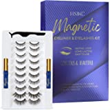HSBCC Updated 10 pairs 3D 6D Magnetic Eyelashes Kit, Double Magnetic Eyeliner and Magentic Eyelashes Kit, Reusable Natural Lo