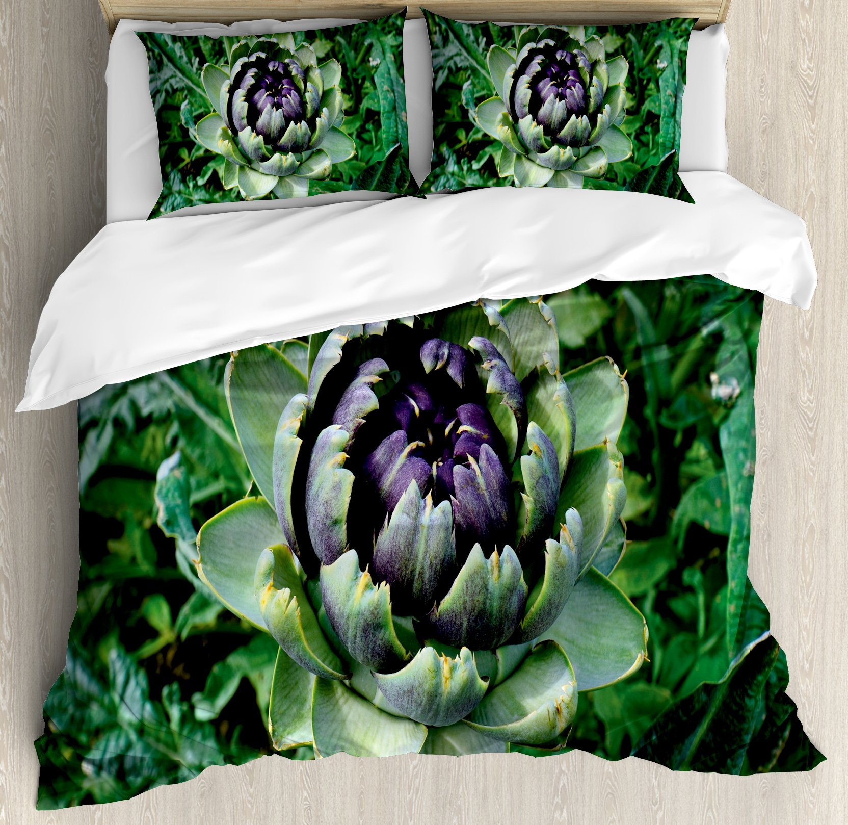 Artichoke Queen Size Duvet Cover Set by Ambesonne, Photograph of Blooming Vegetable Agriculture Nature Artwork Print, Decorative 3 Piece Bedding Set with 2 Pillow Shams, Fern Green and Purple