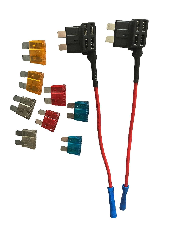 KOLACEN Automotive Car Truck 5 Pieces 16 Gauge Add-a-circuit Fuse TAP Adapter for Regular Standard Blade Type Fuse 5 Pieces 15Apm Standard Fuse