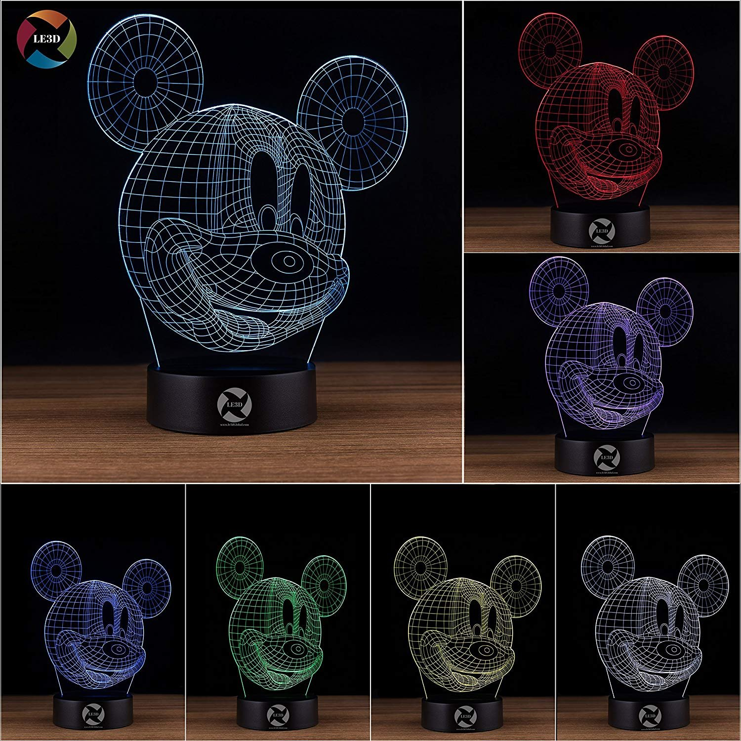 3D Optical Illusion Night Light - 7 LED Color Changing Lamp - Cool Soft Light Safe For Kids - Solution For Nightmares - Disney Mickey Mouse