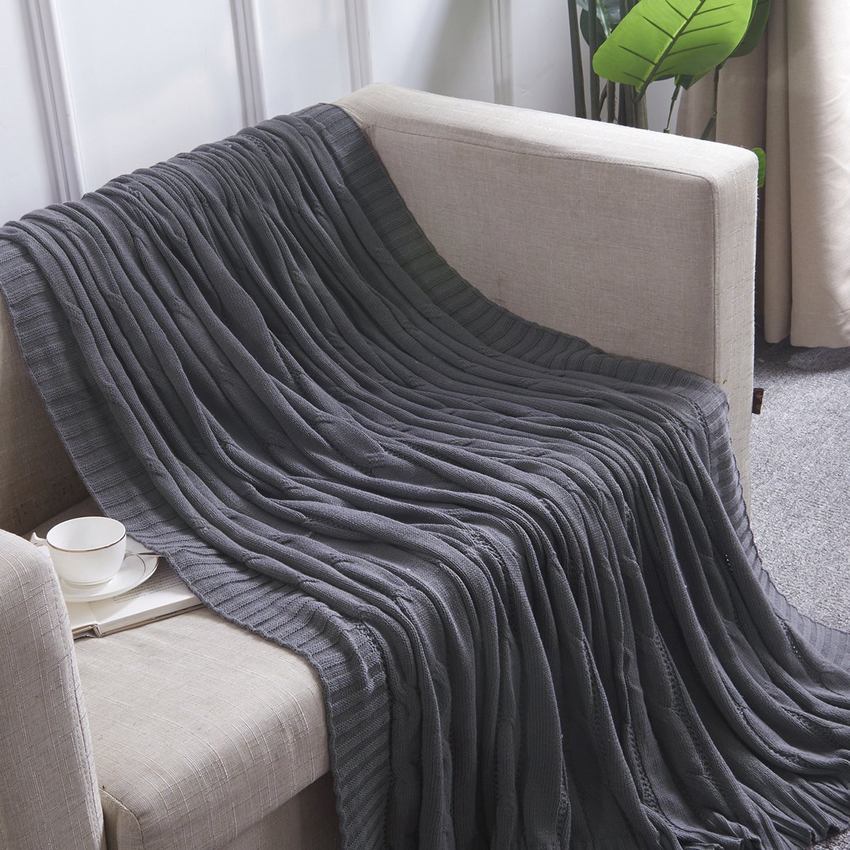 Vonty 100% Cotton Knitted Throw Blanket Soft Warm Home Decor Bedding Blanket Grey 47 x 70 Inch