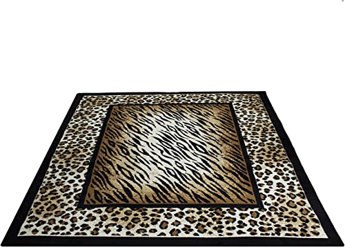Rugs 4 Less Collection Leopard Tiger Skin Mix Animal Print Area Rug 5'X7'