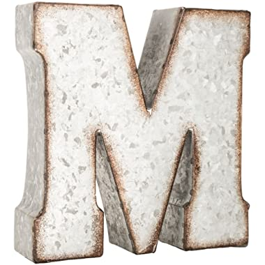 Generic Galvanized Metal 3D Letter M,Grey Metal